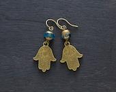 Hamsa Hand Earrings with Blue Czech Glass Beads, Hand of Fatima Earrings, Amulet Earrings, Humes Hand Earrings, Boho Jewelry