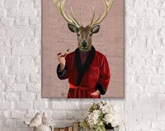 Wall decor Home decor Canvas Art - Deer & Smoking Jacket - deer art decor Deer print art Deer canvas print Deer canvas art Deer cabin decor