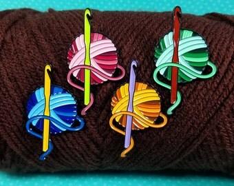 Crochet and Yarn Enamel Pin