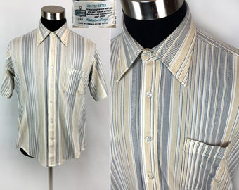 Vintage 70s K-Mart Pinstripe Pocket Shirt LARGE // Long Collar // 1970s // Retro // Button-Down // Striped // Polyester // Disco Era // L