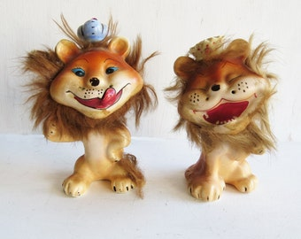 Pair of Vintage Miniature Porcelain Lions Figurines with Fur and Crown  King of the Jungle 50's - 60's