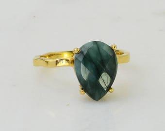 Raw Emerald Ring - Green Emerald - Bezel set ring - Birthstone Ring - Gold and Silver Ring - Gemstone Ring - Stacking Ring - Bridesmaid Ring