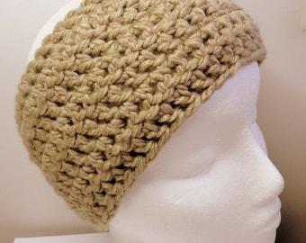 Beige Ear Warmer Beige Crocheted Ear Warmer Chunky Beige Ear Warmer Crocheted Ear Warmer