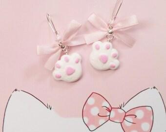earrings kawaii cat paws polymer clay