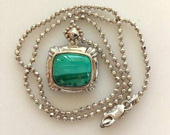 Vintage Sterling Silver Malachite Pendant/ Necklace - Natural Green Stone Pendant