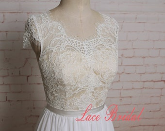 Lace Bodice Wedding Dress with Cap Sleeves A-line Bridal Gown with Chiffon Skirt Sheer Back Wedding Dress with Champagne Underlay of Bodice