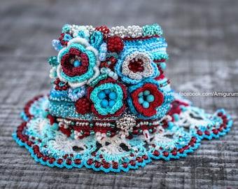 Crochet Beaded Bracelet Cuff. Freeform Crochet Bracelet Cuff. Crochet Jewelry. Beige Mint Turquoise Red Burgundy Sea Blue Crochet Bracelet.