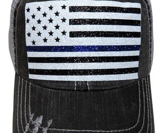 "NEW! White/Blue/Black Glitter ""Thin Blue Line"" Police Stars/Stripes USA Flag Distressed Look Grey Trucker Cap"