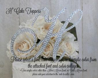 H Wedding Cake Topper, Letter H Cake Topper, H Monogram Cake Topper, Gold Initial H Cake Topper, Bling H Cake Topper, H Swarovski Rhinestone