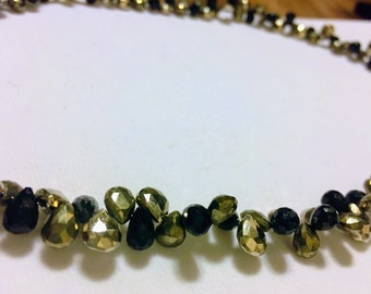 Faceted Pyrite and Spinel Necklace