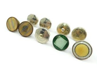 Vintage Art Deco Cuff Link Singles, Enamel, Gold Tone, Silver Tone, Repurpose