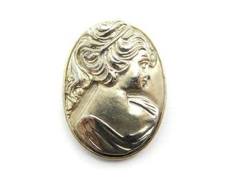 Vintage Cameo Style Brooch, Silver Gold Tone