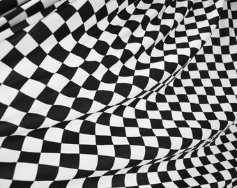 UV Black & White Checkered Squares Spandex Fabric Winners Flag Competition Racing Track Car Finish Line Tile Floor Retro Raver (By the Yard)