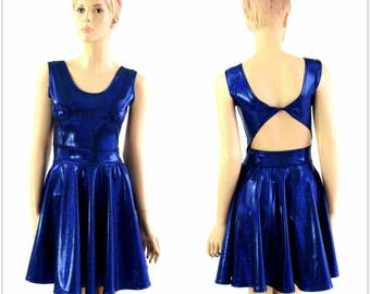 Blue Sparkly Jewel Metallic Holographic Twist Back Scoop Neck Sleeveless Fit and Flare Skater Skate Dress Rave Clubwear EDM - 154295