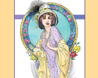 Edwardian Fashion 1910-1920 Styles: Edwardian Inspired Fashion Pen and Ink Drawings, Adult Coloring Book by Chris Ousley