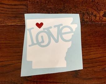 Love Arkansas bumper sticker, State Pride Bumper Sticker, vinyl work, cool bumper stickers, Personalized Bumper Stickers