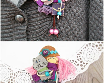 Brooch Doll With Gray Cat, Cloth Art Doll, Personalized Dolls, Brooch For Girl, Doll With Pink Hair, Lady Brooch, Miniature Doll