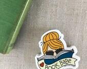 Book Babe Blonde Vinyl Sticker / Reader Gift / Modern Sticker / Laptop Sticker / Girl Sticker / Book Sticker / Waterproof Sticker / Bookworm