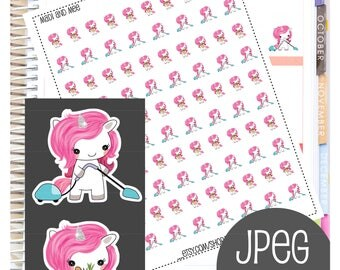Digital Cute Unicorn Glitter Planner Sticker - Get Shit Done | Vacuum | Shopping  | Goodnotes Stickers Household Chores Cleaning Stickers.