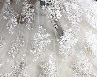 White Alencon Lace Fabric Bridal Lace Fabric Wedding Gown