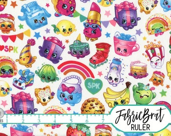 SHOPKINS Fabric by the Yard, Fat Quarter CUTE RAINBOW Kids Fabric Licensed Shopkins Apparel Fabric 100% Cotton Fabric Quilting Fabric t5-13