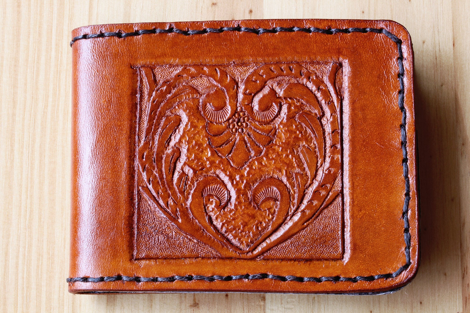 Art deco leather wallet hand carved