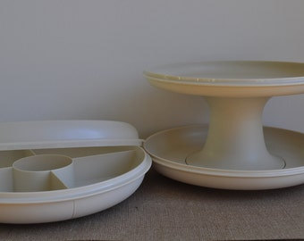 Vintage Tupperware Almond Party Serving Set. Divided Vegetable Tray w/ Lid and 2 Tier Pedestal Dessert Set. Stackable. Excellent Condition