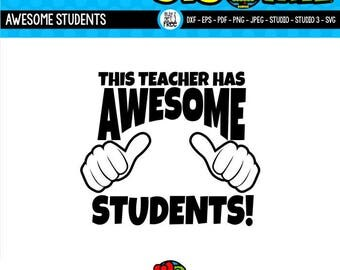 Awesome SVG Teacher SVG Teacher Shirt SVG Thumbs Up svg Gifts for Teachers Cricut Files Silhouette Files svg dxf eps png