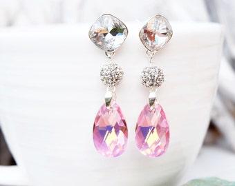 Long Sterling Silver Swarovski Crystal Earring Jewellery-Dangle Drop Bridesmaids Wedding Earrings-Square Teardrop Clear Crystal Pink Earring