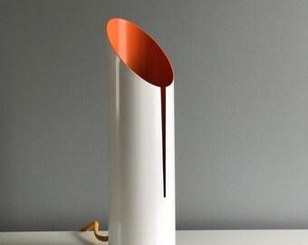 White and Orange Metal Cylinder Lamp - Modern