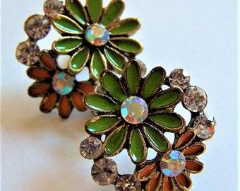 Vintage Fun, Colorful Playful Enamel Floral Stud Earrings