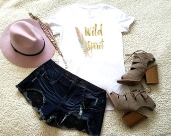 Wild spirit t-shirt available in size s, med, large, and Xl for juniors girls and women bohemian hippie graphic shirt