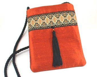 Bright Pumpkin Silk Evening Bag
