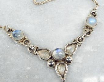 Vintage / Sterling Silver Statement Blue Moonstone Etruscan Choker Necklace 925