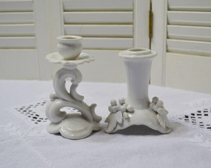 Vintage Candle Stick Holder Set of 2 White Porcelain Mismatched Cottage Shabby Decor PanchosPorch