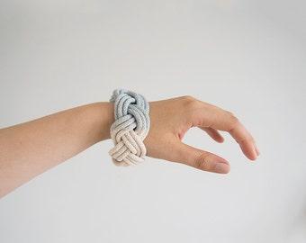 Blue dyed bangle, hand dyed bracelet, hand dyed bangle, chunky bracelet, macrame bracelet, chunky bangle, rope bracelet, nautical bangle