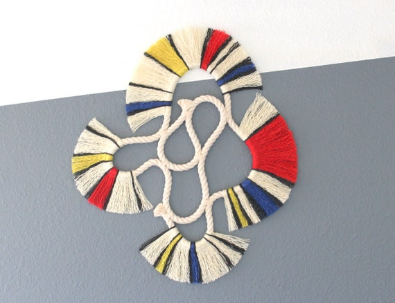 """Wall Hanging """"LOOP no.17""""  One of a kind Handcrafted Macrame/Rope art"""