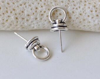 10 pcs Antique Silver Bail Pendant Bead Cap Pin 7x11mm A8718