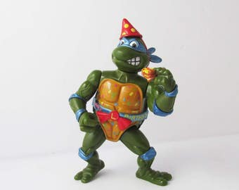 TMNT Classic Party Reptile Leo Toy Action Figure Noise Maker Bodacious Birthday Turtles 1993