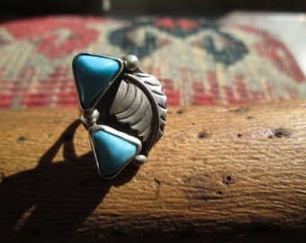 Vintage Turquoise and Sterling Silver Feather Ring Size 5