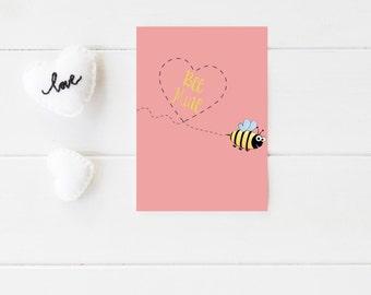 Bee Mine Valentine - Simple Valentine Card - Cute Valentine's Day Card - Printed Valentine's Day Card - Shipped Valentine's Day