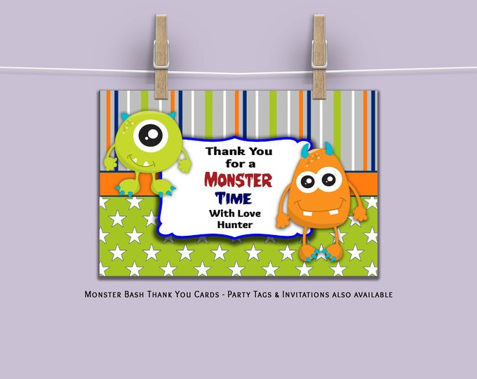Thank You for a Monster Time. Personalized Thank You Cards. Party Supplies. Digital File