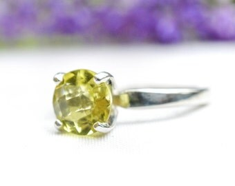 Natural Brilliant Cut Lemon Quartz Ring in 925 Sterling Silver *Free Worldwide Shipping*
