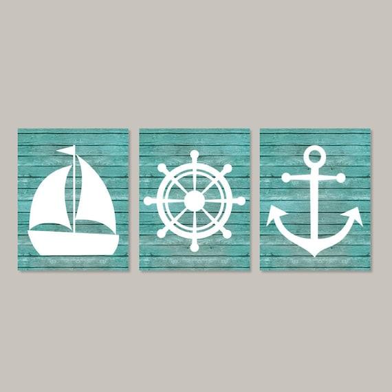 Nautical Anchor Bathroom Decor: Nautical Wall Decor Coastal Wall Art Beach Bathroom Nautical