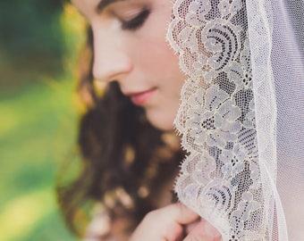 gold lace veil, wedding veil, gold veil, mantilla veil, lace edge veil, bridal veil, chantilly lace veil, gold wedding veil - ALESSANDRA