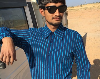 SALE Handmade Man Long Sleeves Fitted Shirt made of Pure Cotton  Blue ON Blue  Block Print