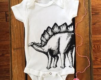 Dinosaur Onesie. Stegosaurus Onesie. Funny Baby Clothes. Hipster Baby Clothes. Baby Boy. Baby Girl. Geeky Onesie. Unique Onesie. Dino Baby.