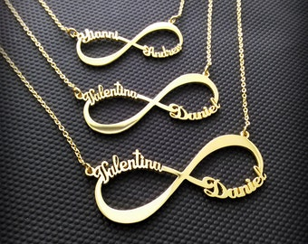 2 Name Necklace - Infinity Name Necklace - Two Name Necklace - Name Infinity Necklace - Multiple name necklace silver-Multiple name necklace