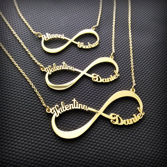 2 Name Necklace Infinity Name Necklace Two Name Necklace