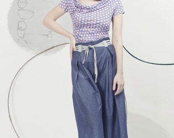 Art 35/17 -20%OFF Pantalone Artemisia. Sartorial, Made in Italy,Handmade, Atelier,Summer, Everyday, Wide leg, Trousers,